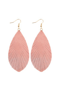 SA3-2-2-AHDE2442PK PINK GRUNGE TONE FRINGED DROP LEATHER EARRINGS/6PAIRS