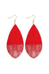 SA3-2-2-AHDE2442RD RED GRUNGE TONE FRINGED DROP LEATHER EARRINGS/6PAIRS