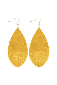 SA3-2-4-AHDE2442YW YELLOW GRUNGE TONE FRINGED DROP LEATHER EARRINGS/6PAIRS