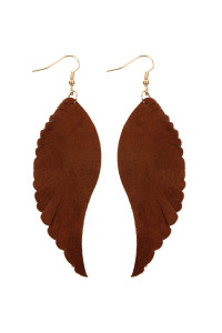 A1-3-2-AHDE2444BR BROWN WINGS SHAPE LEATHER HOOK EARRINGS/6PCS