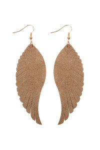 S7-5-2-AHDE2444LBR LIGHT BROWN WINGS SHAPE LEATHER HOOK EARRINGS/6PCS