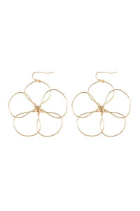 SA4-3-3-AHDE2456G GOLD WIRE FLOWER HOOK EARRINGS/6PAIRS