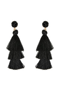 SA4-1-3-AHDE2484BK BLACK DRUZY POST TASSEL DROP EARRINGS/6PAIRS