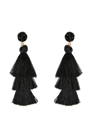 S6-4-4-AHDE2484BK BLACK DRUZY POST TASSEL DROP EARRINGS/6PAIRS