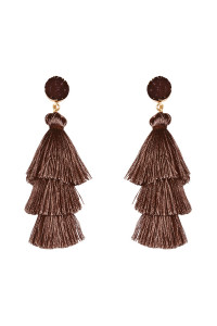 S4-4-3-AHDE2484BR BROWN ACRYLIC DRUZY POST TASSEL DROP EARRINGS/6PAIRS