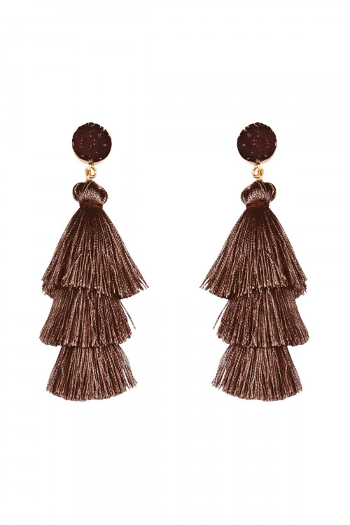 BR-A-2-5-AHDE2484BR BROWN ACRYLIC DRUZY POST TASSEL DROP EARRINGS/6PAIRS