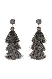 A2-3-2-AHDE2484GY GRAY DRUZY POST TASSEL DROP EARRINGS/6PAIRS