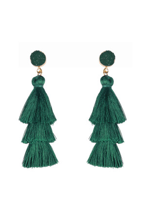 S4-4-3-AHDE2484HGR GREEN ACRYLIC DRUZY POST TASSEL DROP EARRINGS/6PAIRS
