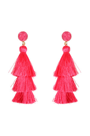 SA3-1-4-AHDE2484HPK HOT PINK DRUZY POST TASSEL DROP EARRINGS/6PAIRS