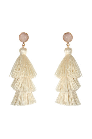 SA3-1-4-AHDE2484IV IVORY DRUZY POST TASSEL DROP EARRINGS/6PAIRS