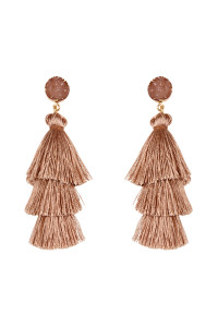 A3-3-4-AHDE2484LBR LIGHT BROWN DRUZY POST TASSEL DROP EARRINGS/6PAIRS