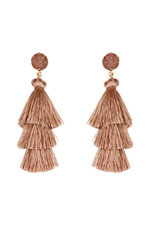 S6-4-4-AHDE2484LBR LIGHT BROWN DRUZY POST TASSEL DROP EARRINGS/6PAIRS