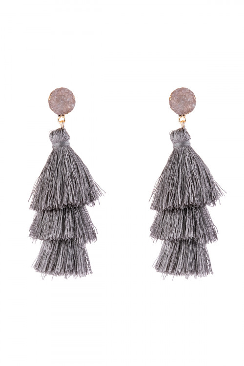 A3-3-4-AHDE2484LGY LIGHT GRAY ACRYLIC DRUZY POST TASSEL DROP EARRINGS/6PAIRS