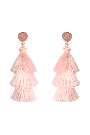 A3-3-4-AHDE2484LPK LIGHT PINK DRUZY POST TASSEL DROP EARRINGS/6PAIRS