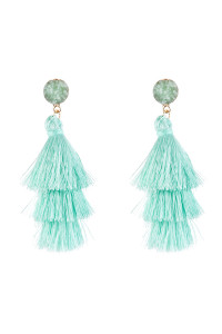 A3-3-4-AHDE2484MN MINT ACRYLIC DRUZY POST TASSEL DROP EARRINGS/6PAIRS
