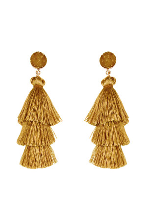A2-3-2-AHDE2484MU MUSTARD ACRYLIC DRUZY POST TASSEL DROP EARRINGS/6PAIRS
