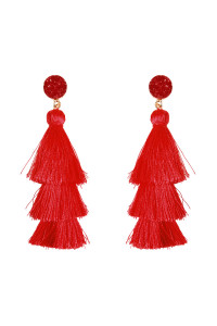 A3-3-2-AHDE2484RD RED ACRYLIC DRUZY POST TASSEL DROP EARRINGS/6PAIRS