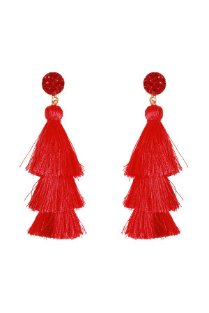 S4-4-3-AHDE2484RD RED ACRYLIC DRUZY POST TASSEL DROP EARRINGS/6PAIRS