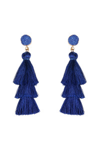 SA3-1-4-AHDE2484SB SAPPHIRE BLUE DRUZY POST TASSEL DROP EARRINGS/6PAIRS