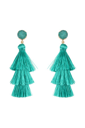 SA3-1-4-AHDE2484TQ TURQUOISE DRUZY POST TASSEL DROP EARRINGS/6PAIRS