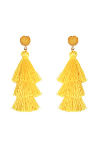A3-3-4-AHDE2484YW YELLOW DRUZY POST TASSEL DROP EARRINGS/6PAIRS