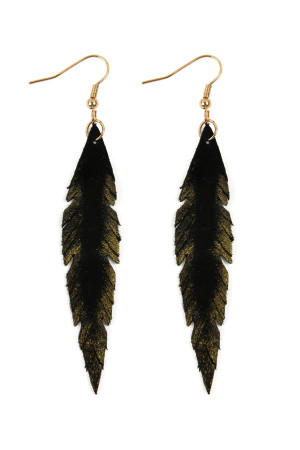 S6-6-3-AHDE2501BK - GRUNGE FEATHER SHAPE LEATHER EARRINGS - BLACK/6PCS