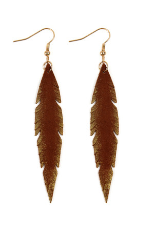S6-6-3-AHDE2501BR - GRUNGE FEATHER SHAPE LEATHER EARRINGS - BROWN/6PCS