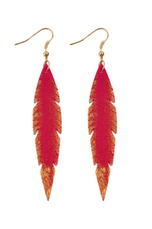S6-6-3-AHDE2501FS - GRUNGE FEATHER SHAPE LEATHER EARRINGS - FUCHSIA/6PCS