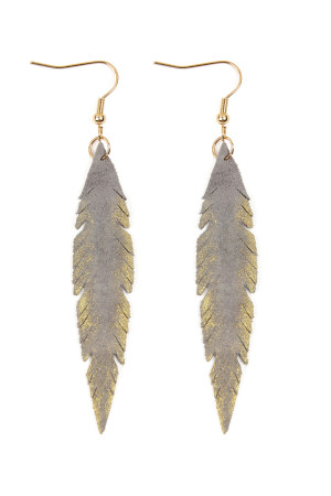 SA4-3-3-AHDE2501GY - GRUNGE FEATHER SHAPE LEATHER EARRINGS - GRAY/6PCS