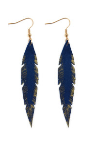 S6-6-3-AHDE2501SP- GRUNGE FEATHER SHAPE LEATHER EARRINGS - SAPPHIRE/6PCS