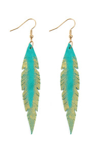SA4-3-3-AHDE2501TQ- GRUNGE FEATHER SHAPE LEATHER EARRINGS - TURQUOISE/6PCS
