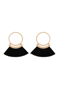 S5-5-2-AHDE2507BK BLACK POST HOOP WITH DANGLING FRINGE LEATHER EARRINGS/6PAIRS