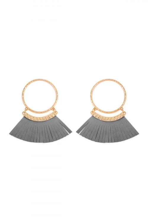 S6-4-4-AHDE2507GY GRAY POST HOOP WITH DANGLING FRINGE LEATHER EARRINGS/6PAIRS