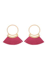 S5-5-2-AHDE2507HPK HOT PINK POST HOOP WITH DANGLING FRINGE LEATHER EARRINGS/6PAIRS