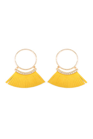 S5-5-2-AHDE2507MU MUSTARD POST HOOP WITH DANGLING FRINGE LEATHER EARRINGS/6PAIRS