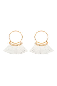 S6-4-2-AHDE2507NA NATURAL POST HOOP WITH DANGLING FRINGE LEATHER EARRINGS/6PAIRS
