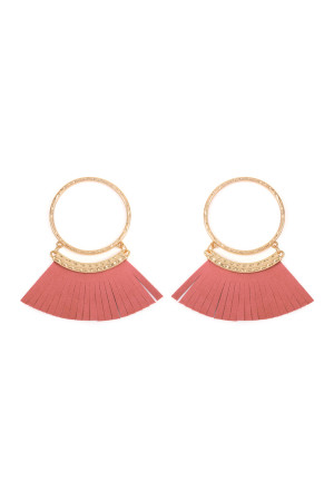 SA4-2-2-AHDE2507PK DUSTY PINK POST HOOP WITH DANGLING FRINGE LEATHER EARRINGS/6PAIRS
