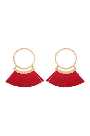 S6-4-2-AHDE2507RD RED POST HOOP WITH DANGLING FRINGE LEATHER EARRINGS/6PAIRS