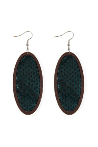 S6-6-3-AHDE2518BK BLACK SNAKE SKIN PRINTED FABRIC OVAL WOOD EARRINGS/6PAIRS