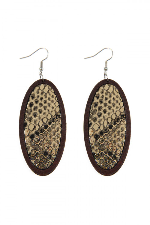 S6-5-3-AHDE2518G GOLD SNAKE SKIN PRINTED FABRIC OVAL WOOD EARRINGS/6PAIRS
