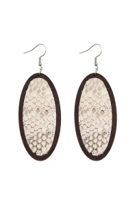 S6-4-3-AHDE2518NA NATURAL SNAKE SKIN PRINTED FABRIC OVAL WOOD EARRINGS/6PAIRS