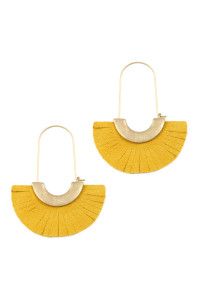 S7-4-3-AHDE2521MU MUSTARD LEATHER FAN HOOP EARRINGS/6PAIRS
