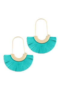 S6-6-4-AHDE2521TQ TURQUOISE LEATHER FAN HOOP EARRINGS/6PAIRS