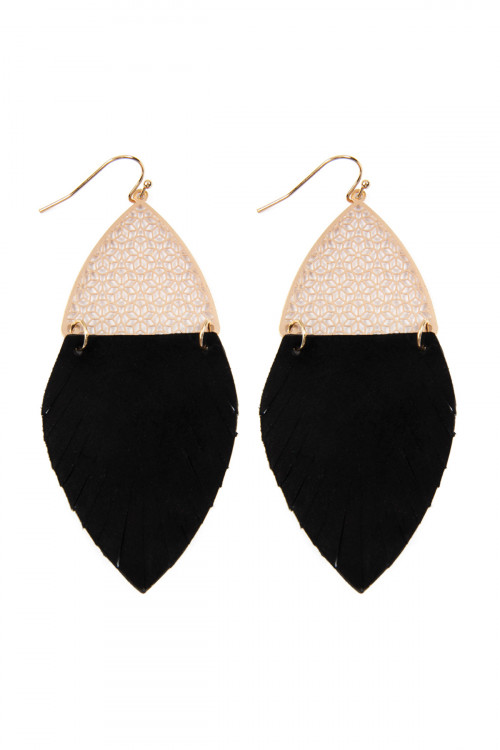 S7-4-1-AHDE2522BK BLACK HALF FILIGREE AND HALF FRINGE LEATHER MARQUISE DROP EARRINGS/6PAIRS