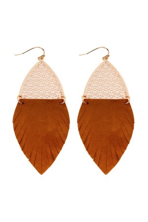 S7-4-3-AHDE2522BR BROWN HALF FILIGREE AND HALF FRINGE LEATHER MARQUISE DROP EARRINGS/6PAIRS