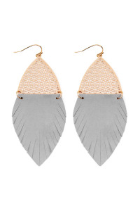 S7-4-3-AHDE2522GY GRAY HALF FILIGREE AND HALF FRINGE LEATHER MARQUISE DROP EARRINGS/6PAIRS