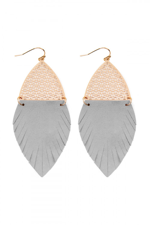S22-3-4-AHDE2522GY GRAY HALF FILIGREE AND HALF FRINGE LEATHER MARQUISE DROP EARRINGS/6PAIRS