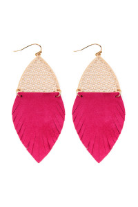 S7-4-4-AHDE2522HPK HOT PINK HALF FILIGREE AND HALF FRINGE LEATHER MARQUISE DROP EARRINGS/6PAIRS