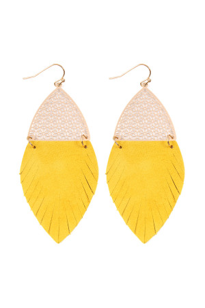 S7-4-4-AHDE2522MU MUSTARD HALF FILIGREE AND HALF FRINGE LEATHER MARQUISE DROP EARRINGS/6PAIRS