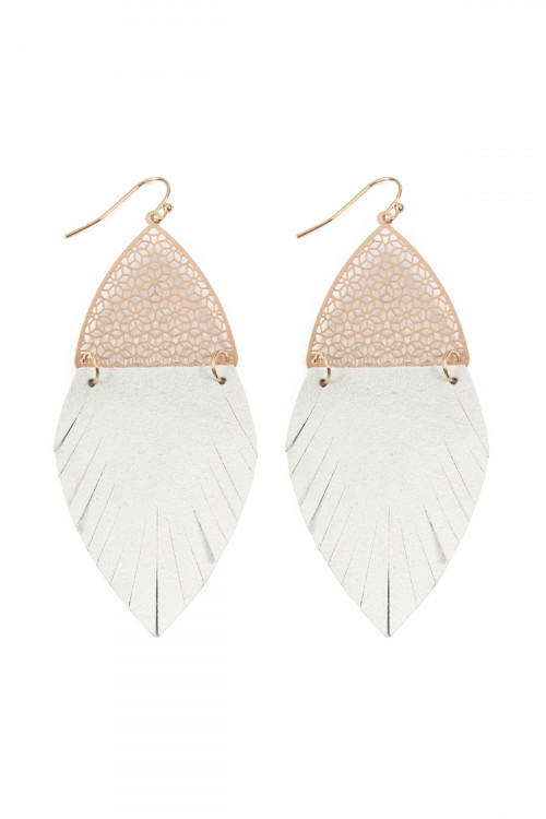 S7-4-4-AHDE2522NA NATURAL HALF FILIGREE AND HALF FRINGE LEATHER MARQUISE DROP EARRINGS/6PAIRS
